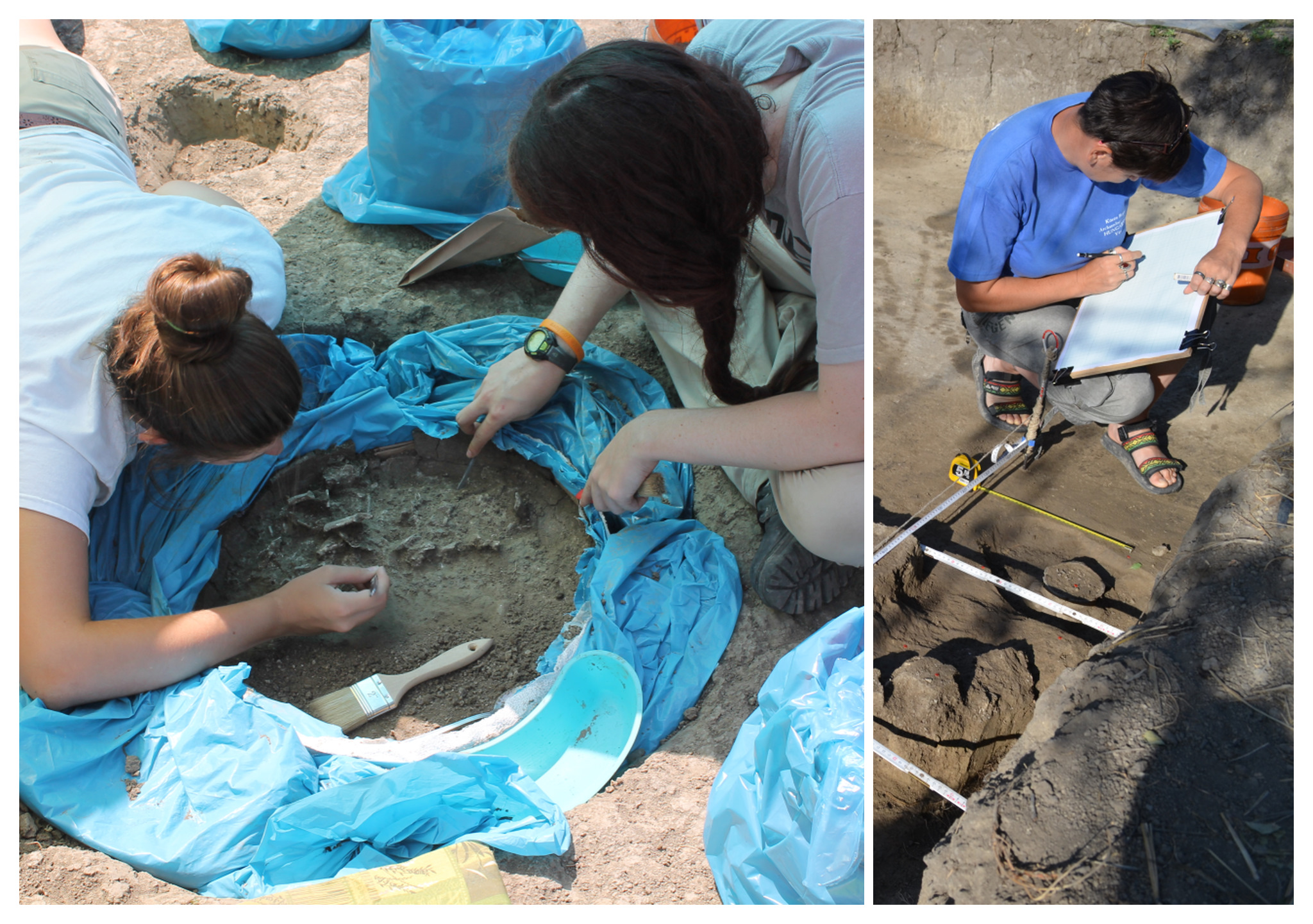 "Justine and Katie micro excavating ""Big Mama"" in Block 39. Dori drawing a burial"