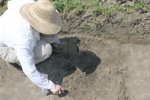 Virág using a spakli (Hungarian trowel) to clean the floor of the block.