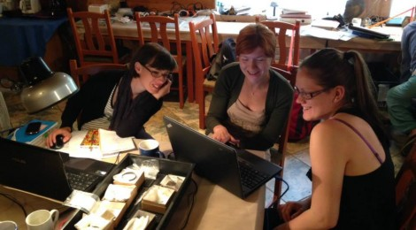 Anna Szigeti, Virag Varga, and Dr. Viktoria Kiss analyze bronze remains in the lab.